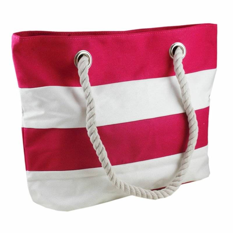 Beach bag sew fabric red and white