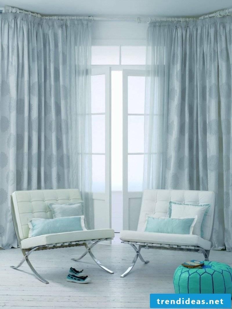 original silk curtains light blue