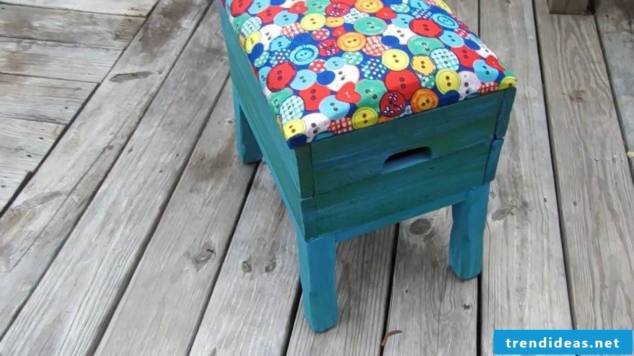 Turn old stool into a colorful hunk