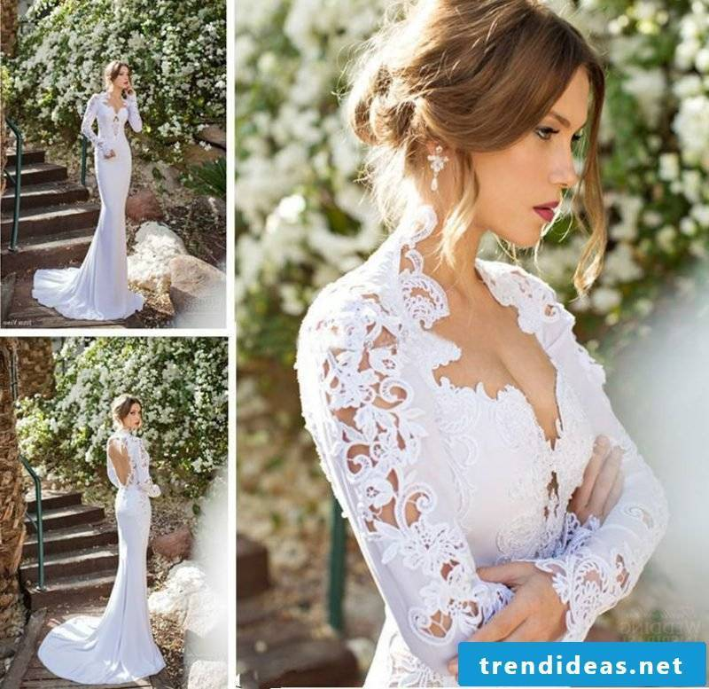 sexy wedding dress High Neck Long Sleeve