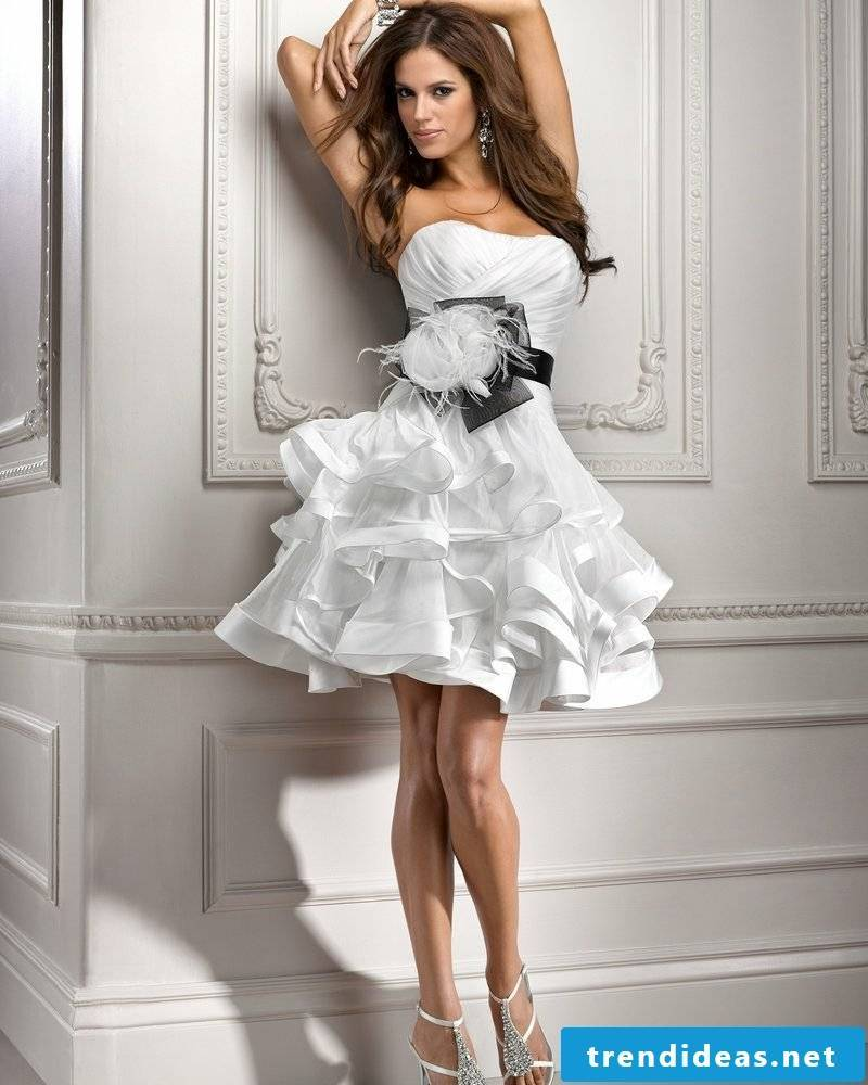 sexy wedding dress White Organza Ball Black Ribbon