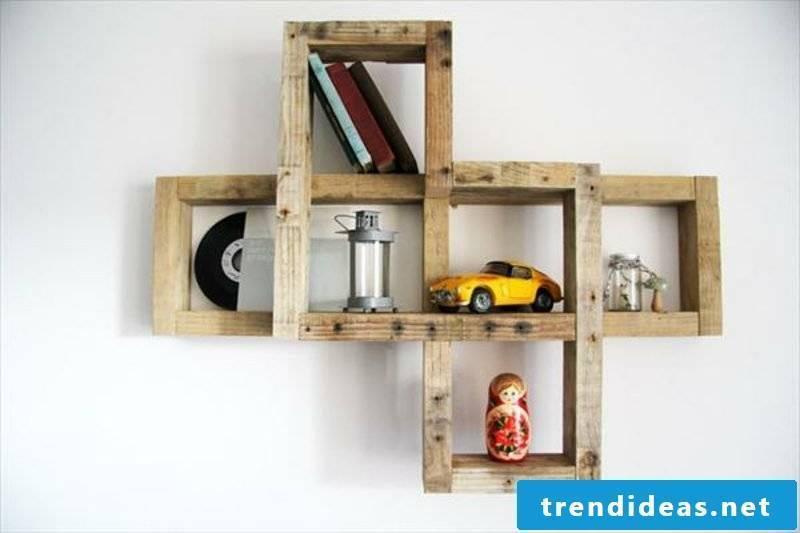 Toys on a shelf of pallets