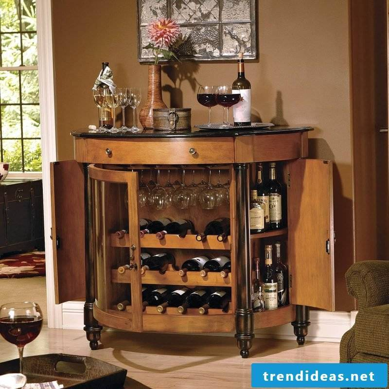 Build sideboard yourself and create a round shape