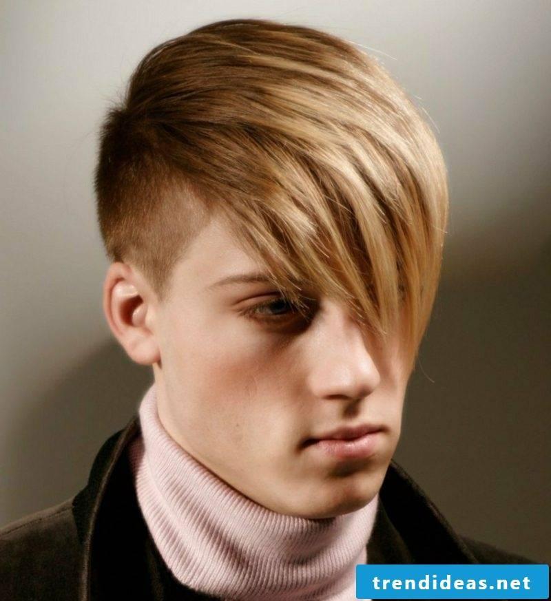 Step cut long hair sidecut hairstyle with long pony man