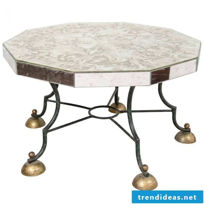 Silver table as decoration for home.