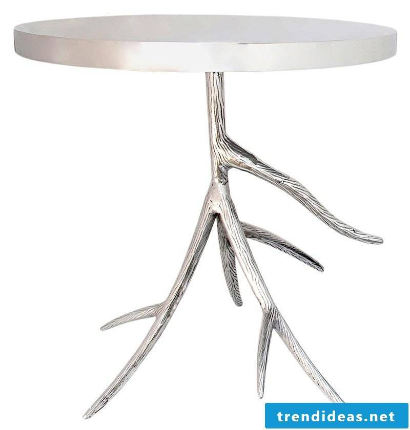 Silver table in a modern design.