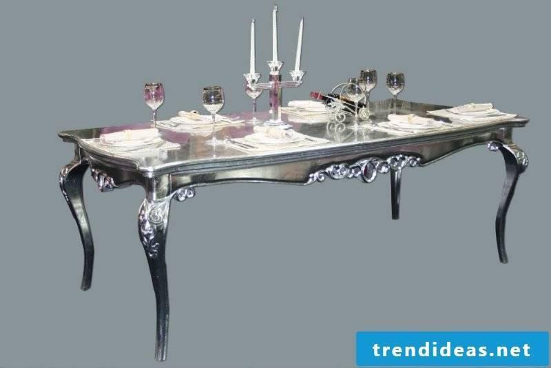 Beautiful elegant silver table.