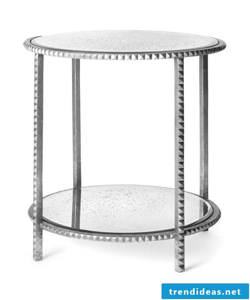 Silver table with glass.