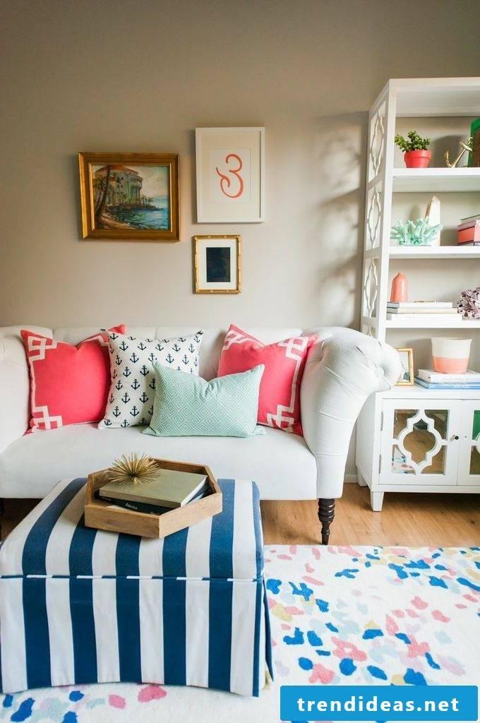 living room set up deco pillow sofa