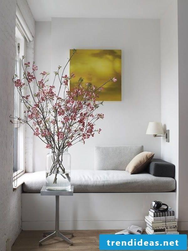 Living room set up flowers decoration sofa