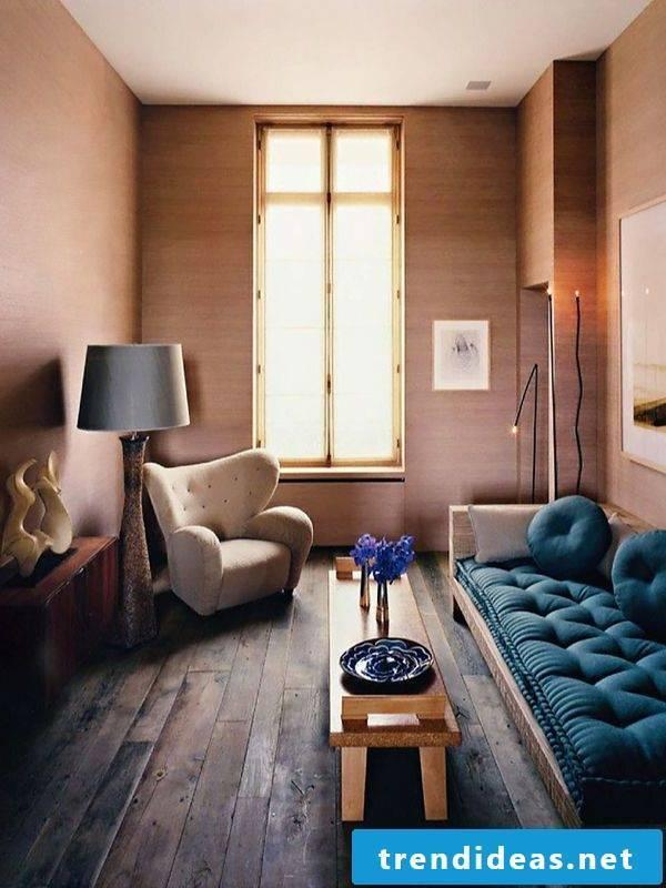 living room ideas ideas table wooden sofa blue armchair