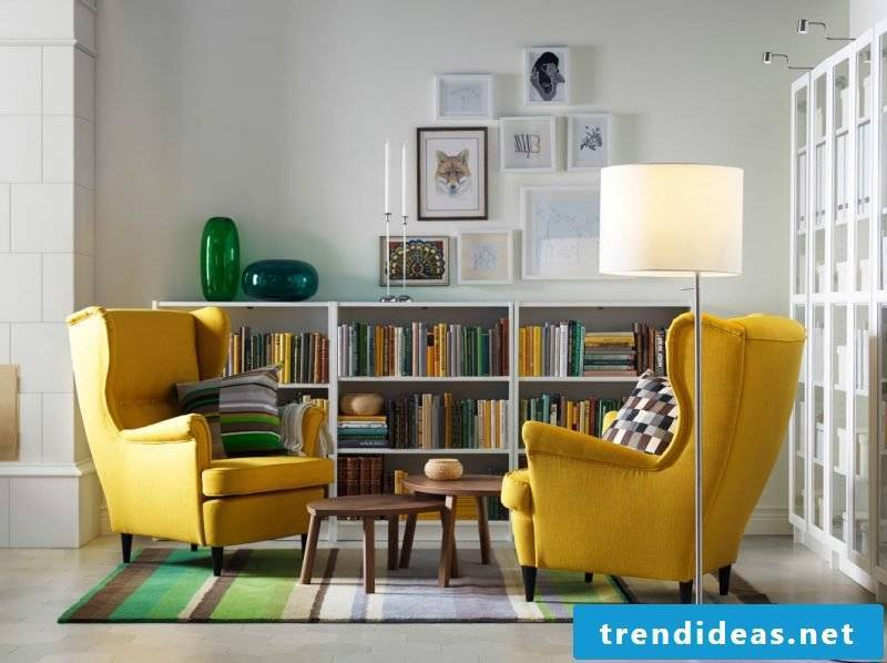 living room furniture armchair in yellow shelf