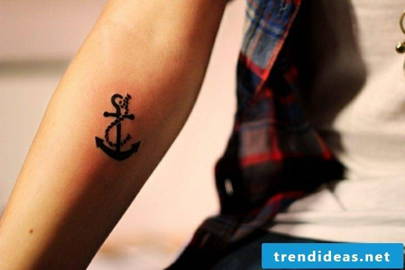 small tattoos motives anchor and rope forearm