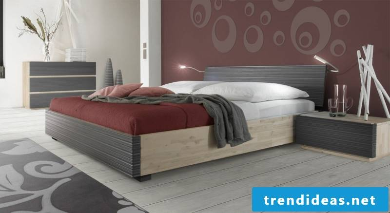 large wooden double bed