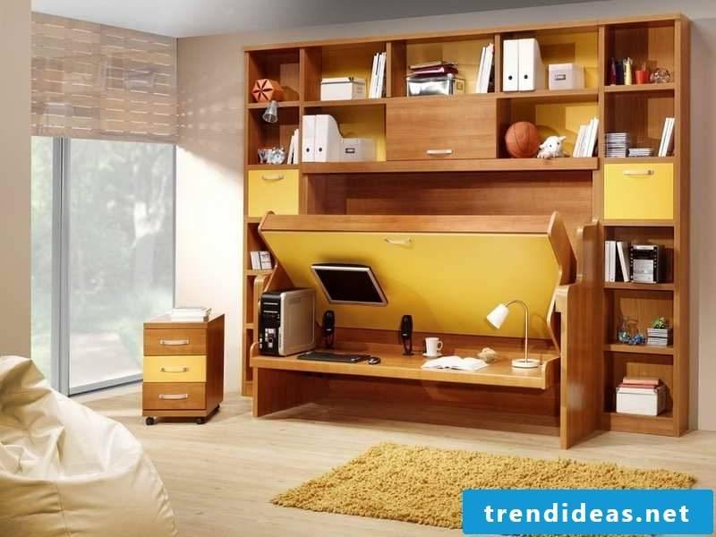 Wall bed children's room shelf