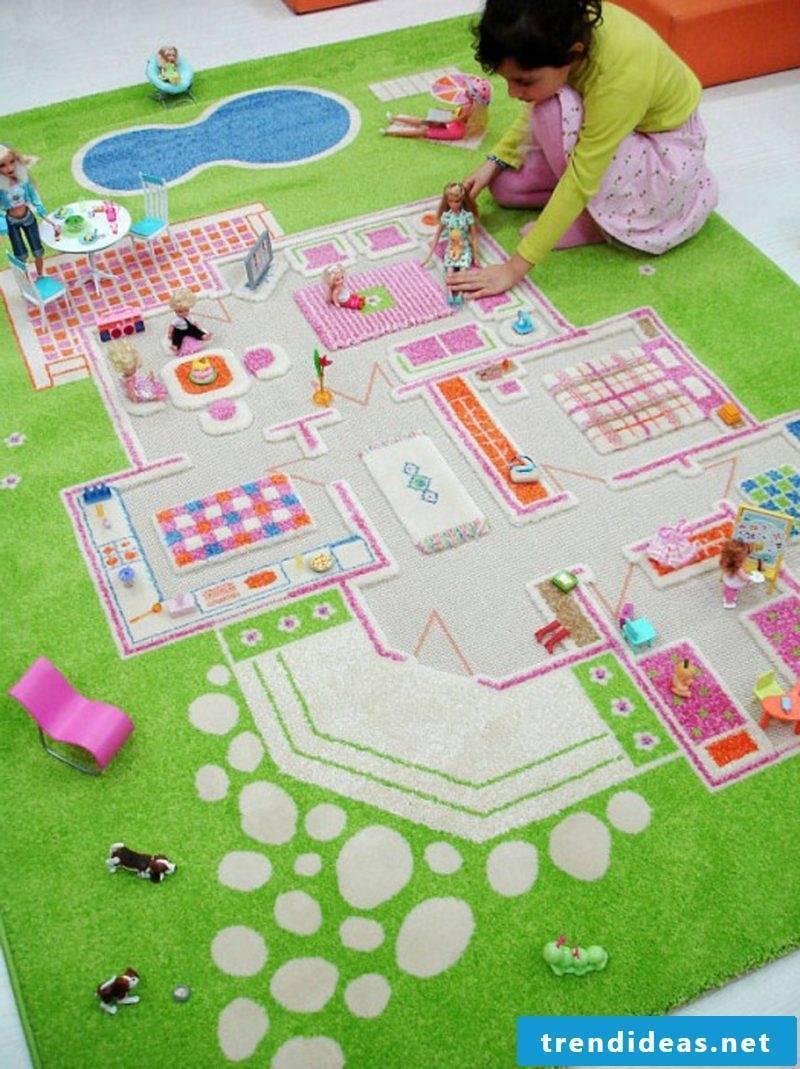 Nursery carpet designed as a dollhouse