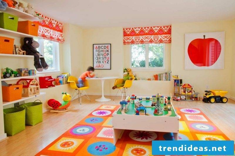 The colorful nursery carpet makes the room look brighter