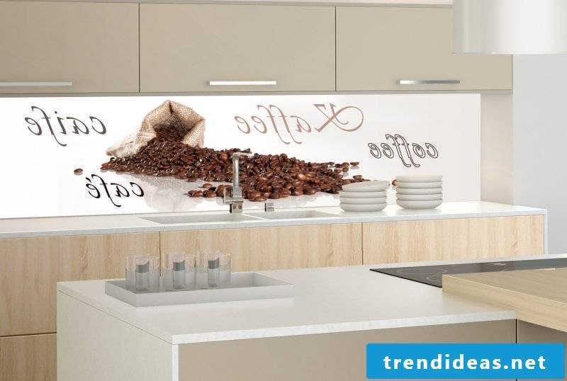 Splash guard for kitchen with the saying