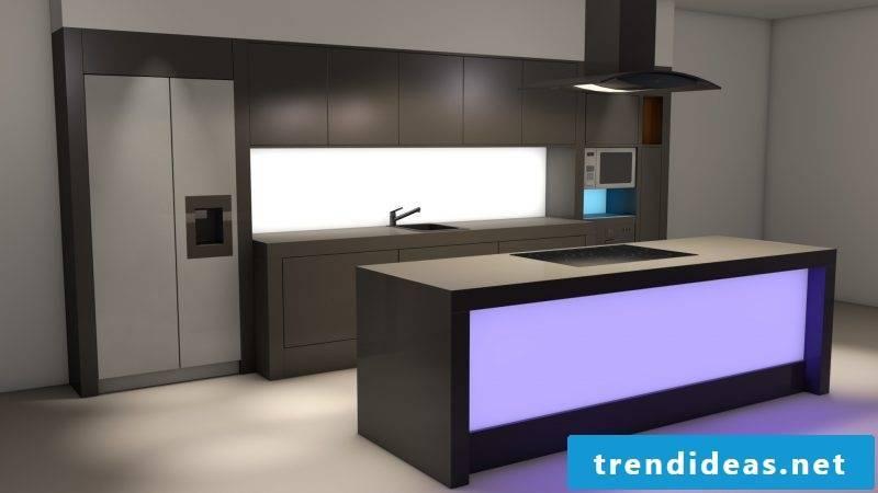 Splash guard for kitchen with LED lighting