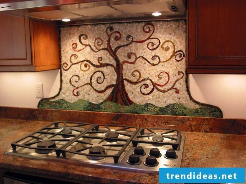 Splash guard for kitchen with interesting mosaic art