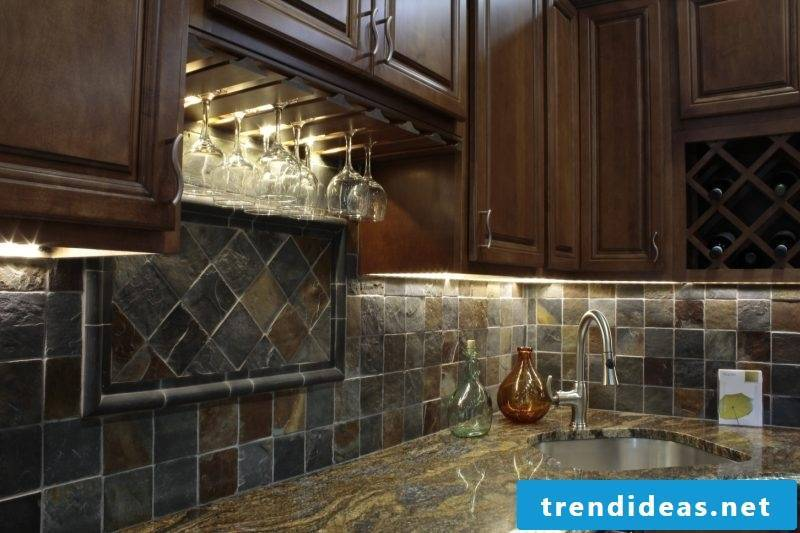 Splash guard for kitchen made of natural stones