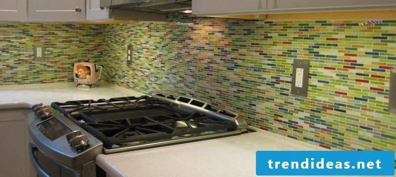 Splash guard for kitchen in multicolored mosaic