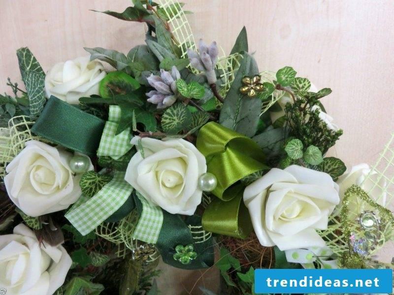 Spring tinker wreath of white plastic roses