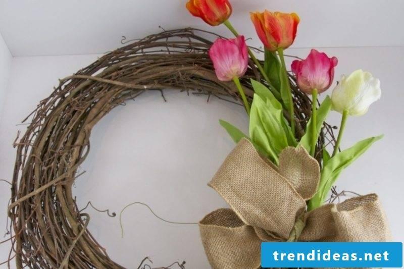 DIY wreath spring flowers