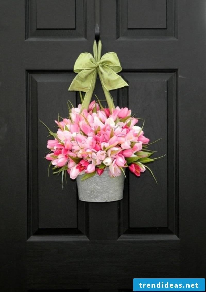 Dekoideen spring flowerpot tulips