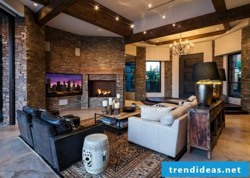 Living room stone look with wall design