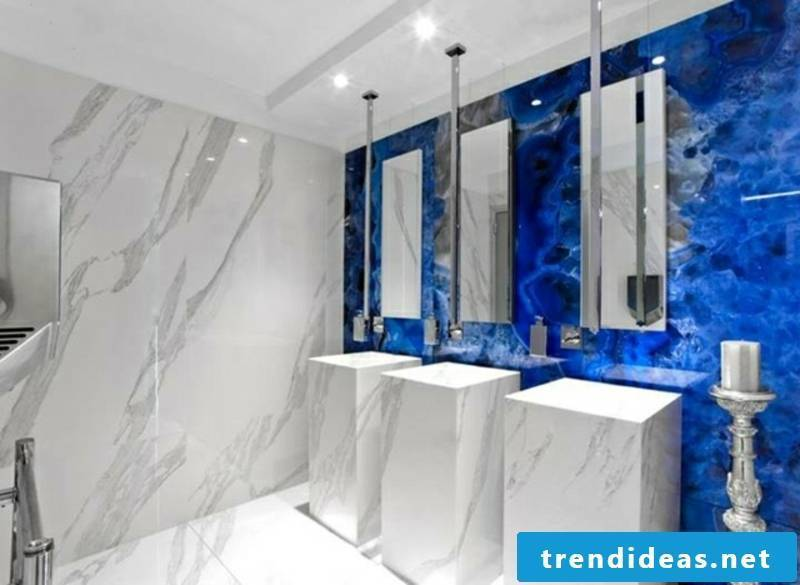 Bathroom tiles in gemstone look