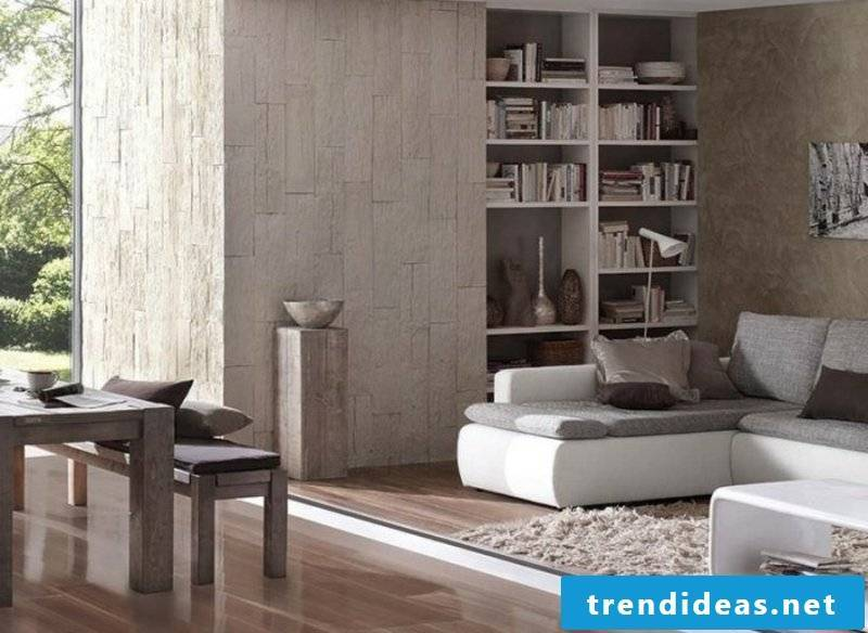 Stone look at wall design living room