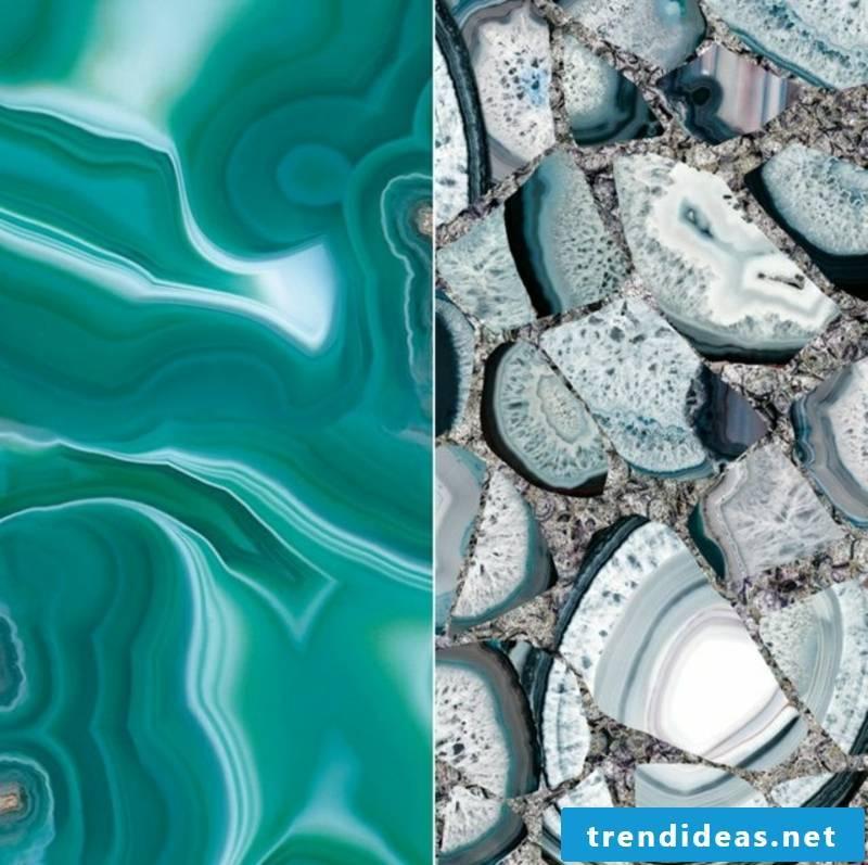 Tiles in gemstone look