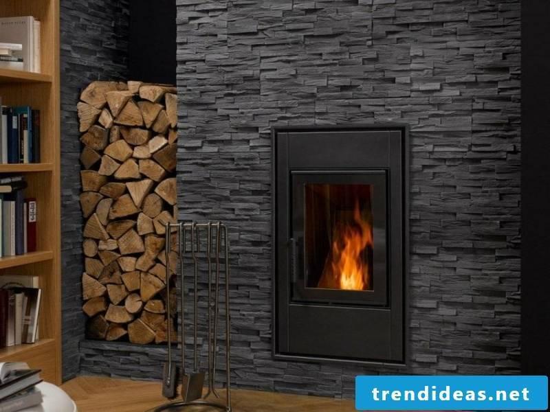 Fireplace cover dark stone