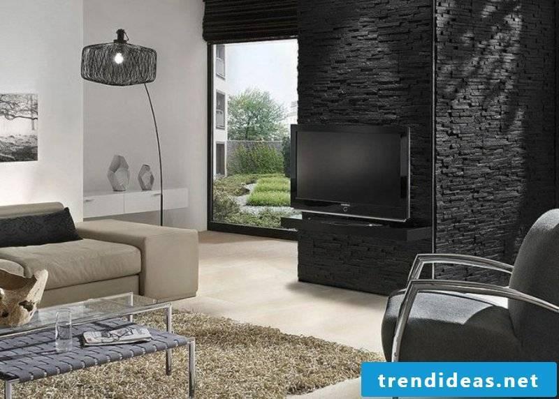 Living room stone look with Wandverkledung