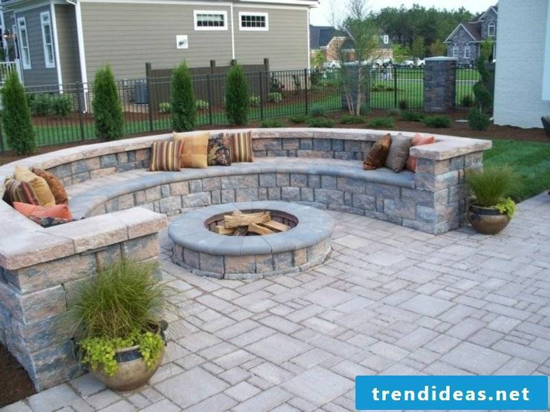 Stone wall in the garden sitting area fire pit
