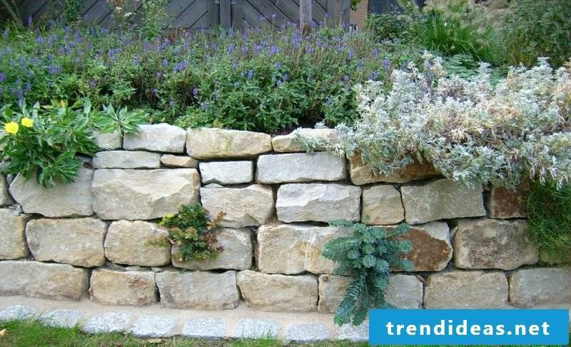 Garden wall of stone natural look