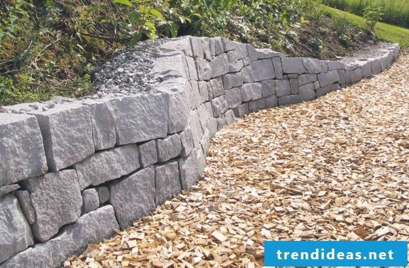 Stone wall in the garden original design