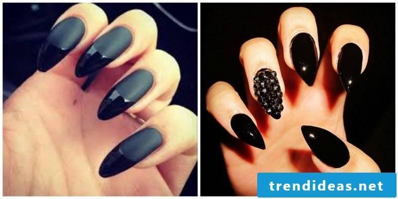 Nail art design black matt and shine