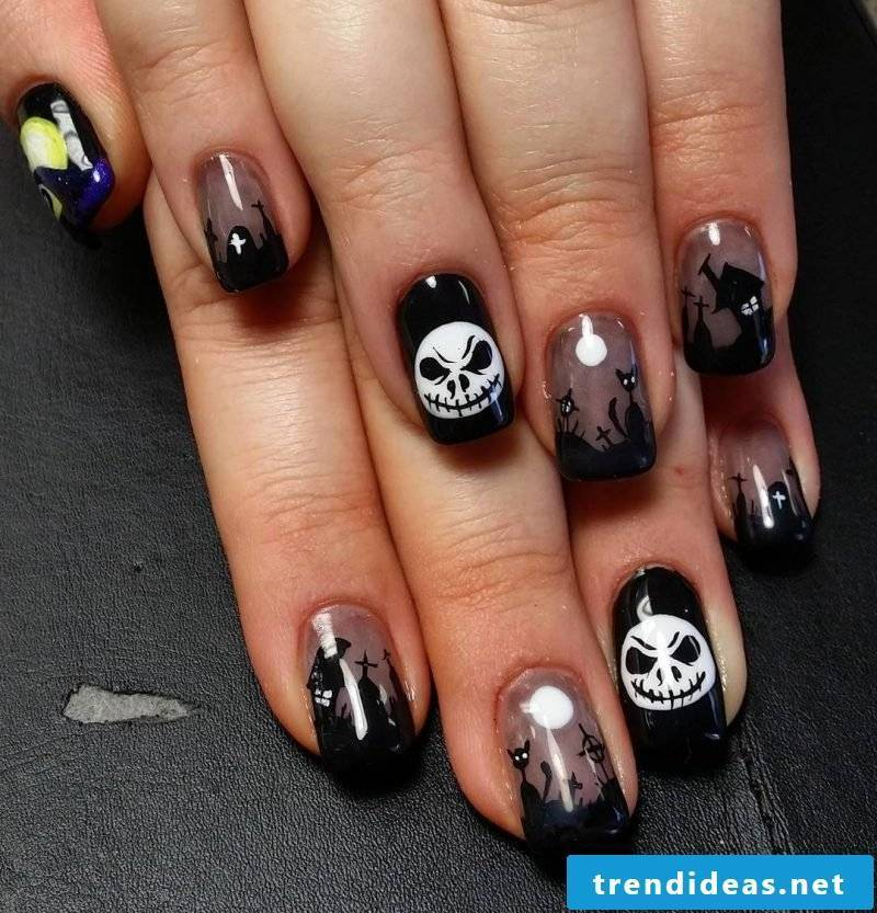Nail art black halloween