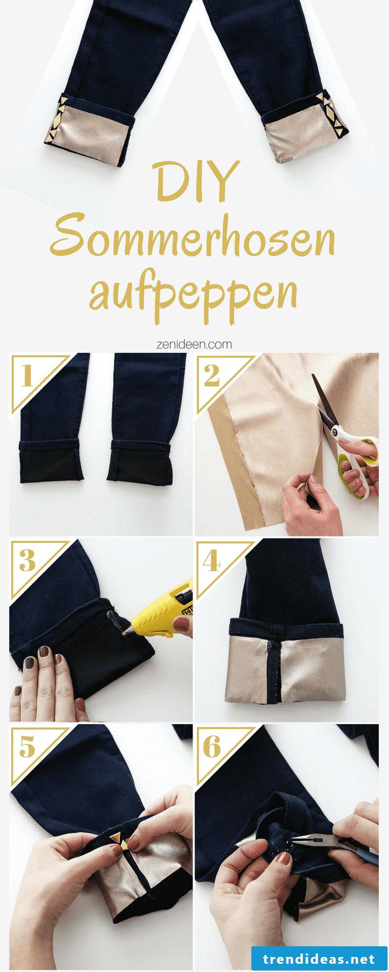 DIY golden summer pants made of denim