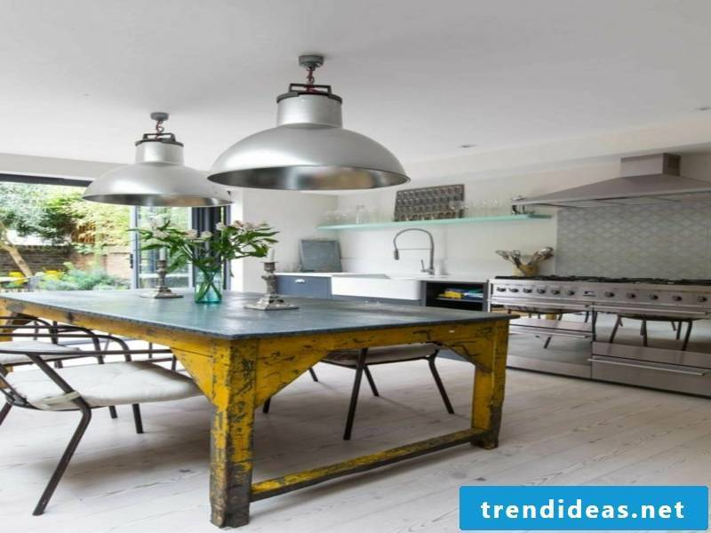 old kitchen table in the modern kitchen