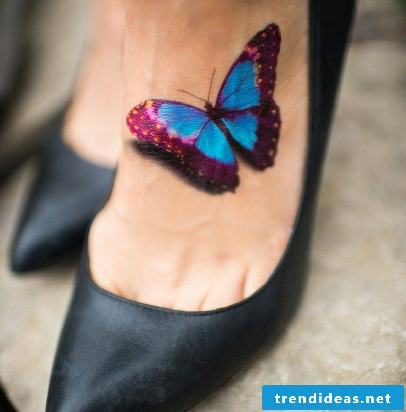 Tattoo butterfly foot shading realistic illustration