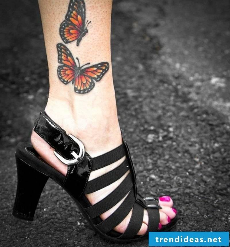 Tattoo butterfly monarch butterfly leg realistic illustration