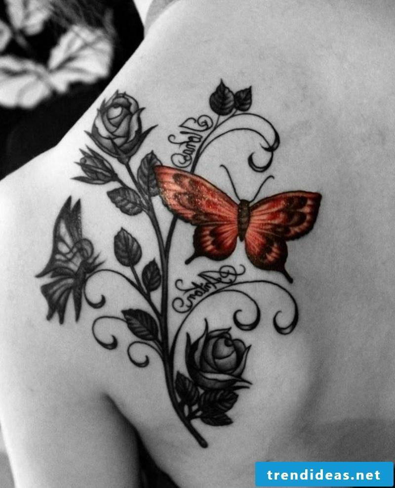 Tattoo butterfly orange roses name