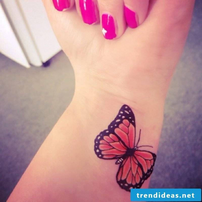 Tattoo butterfly wrist monarch butterfly colored