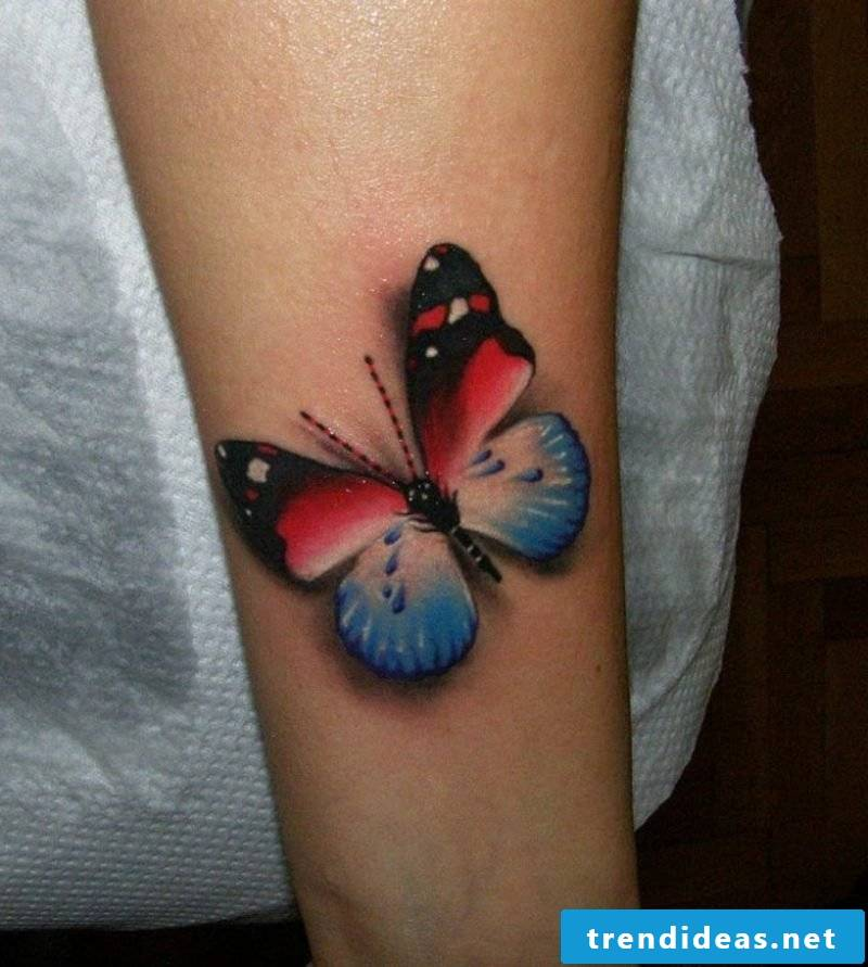 Tattoo butterfly colored upper arm 3D effect