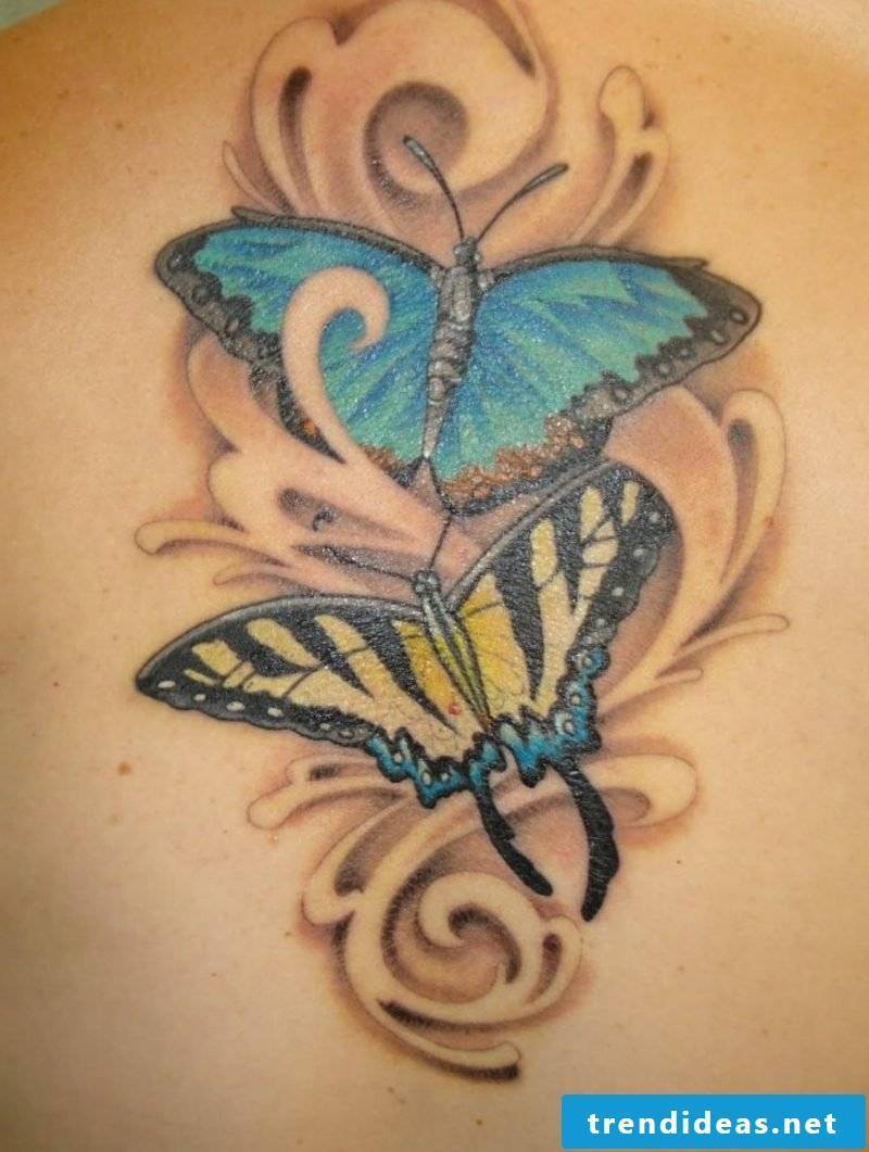Tattoo butterfly blue yellow gorgeous design
