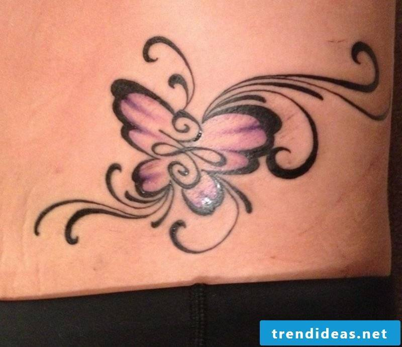 Tattoo butterfly abstract black and purple