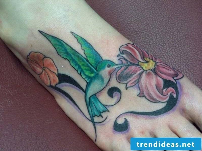 tattoo hummingbird Green Ink Hummingbird With Flower Tattoo On-Foot-resized